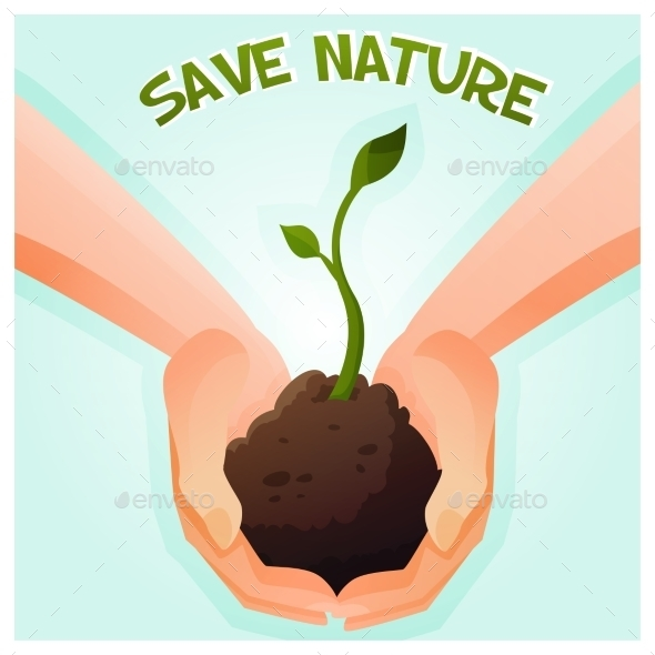 GraphicRiver Two Hands Holding a Young Green Plant 9764026