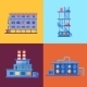 Industrial Factory Buildings Icons Set - GraphicRiver Item for Sale