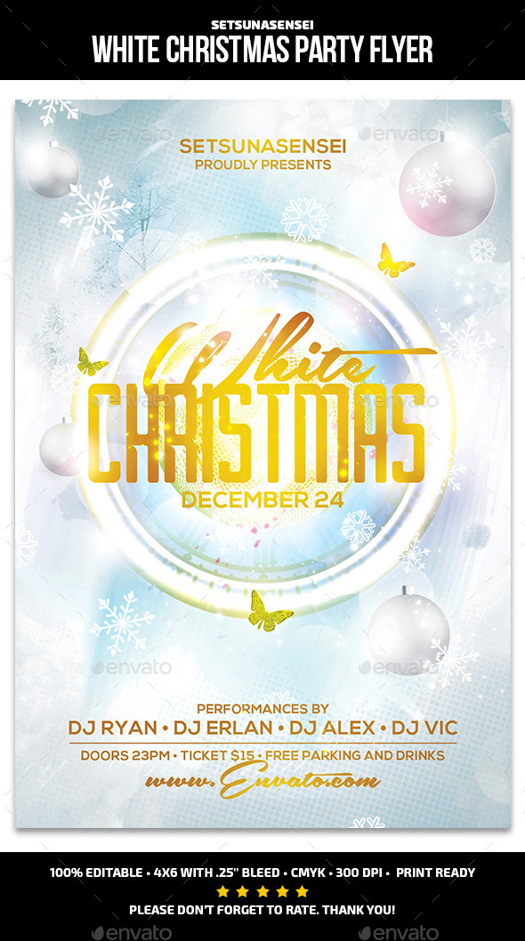 GraphicRiver White Christmas Party Flyer 9764312