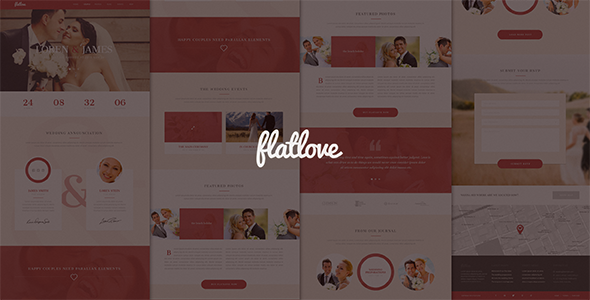 ThemeForest Flatlove Flat One Page Wedding Psd Template 9764315
