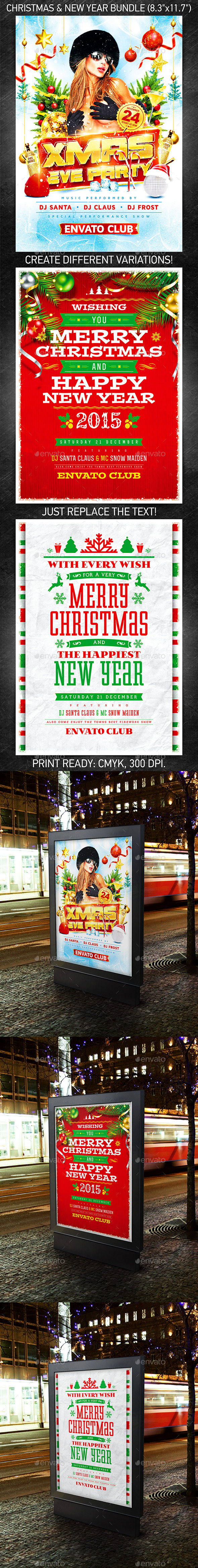 GraphicRiver Christmas & New Year Poster Bundle 9764367