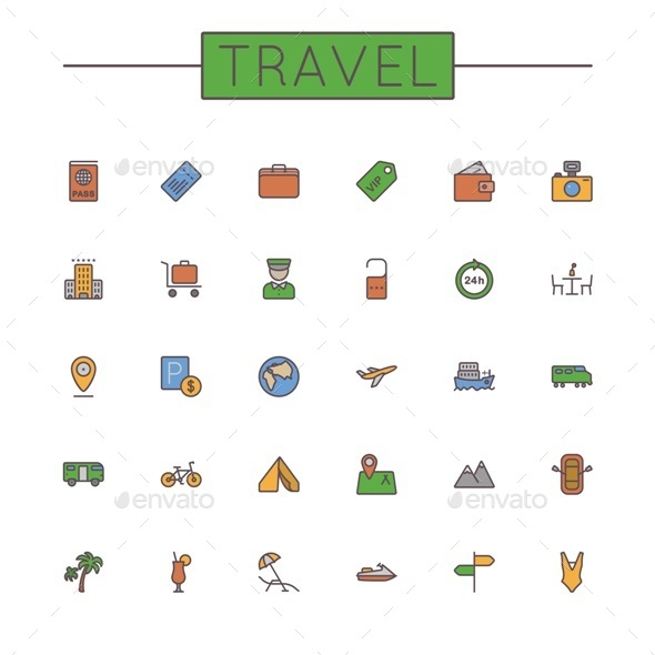 GraphicRiver Colored Travel Line Icons 9764754