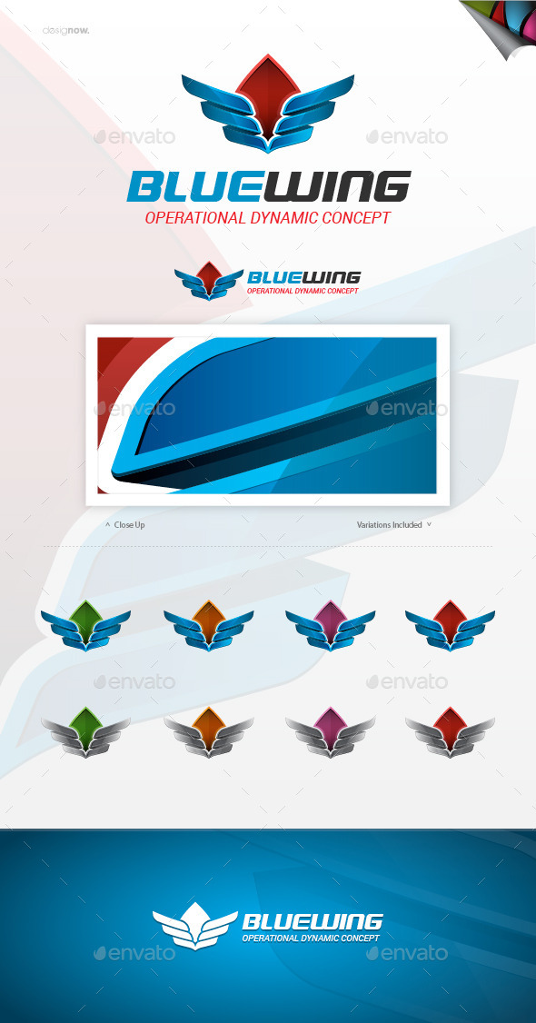 GraphicRiver Blue Wing Logo 9764823