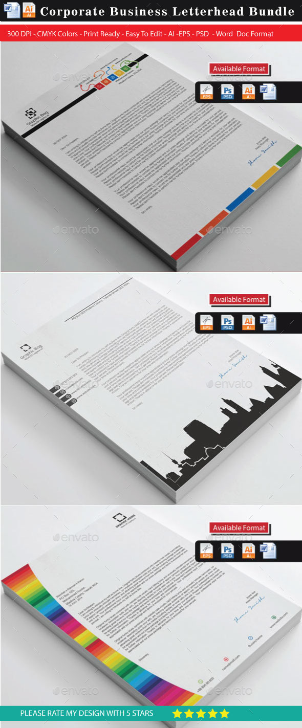 36 Corporate Colorful Real Estate Letterhead Bundl