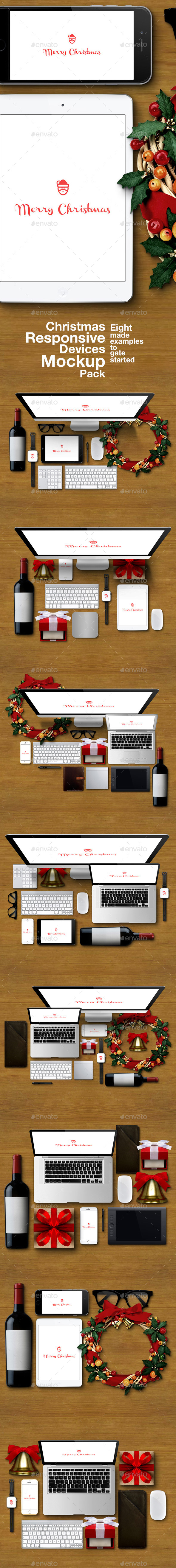 GraphicRiver Christmas Responsive Devices Mockup Pack 9766077