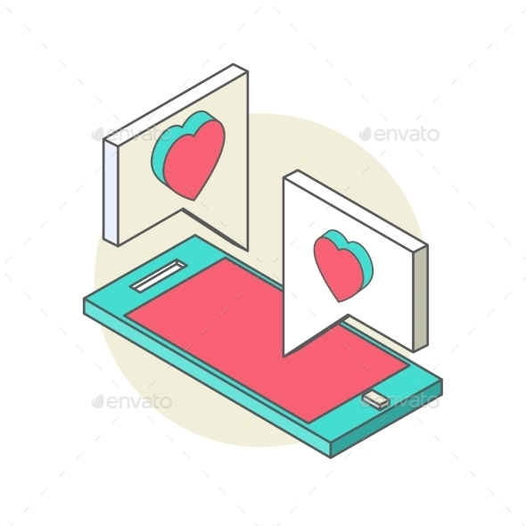 Isometric Illustration for Valentine s Day