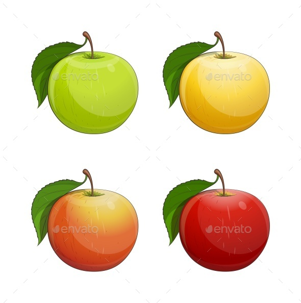 GraphicRiver Ripe Apple with Green Leaf 9766577