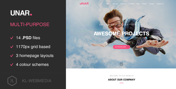 ThemeForest Unar Multi-Purpose PSD Template 9766726
