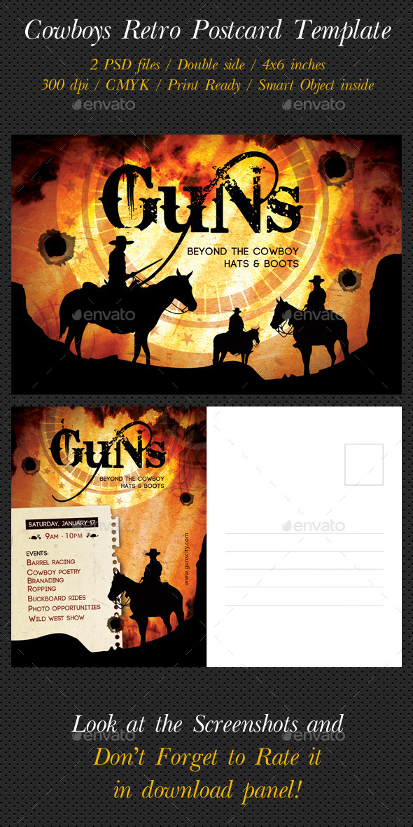 GraphicRiver Cowboys Retro Postcard Template 9766838
