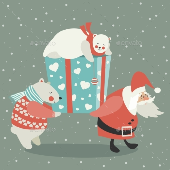 GraphicRiver Santa and Polar Bear Carrying a Gift 9766849
