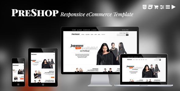 Site templates preshop responsive e commerce website for E commerce sites templates
