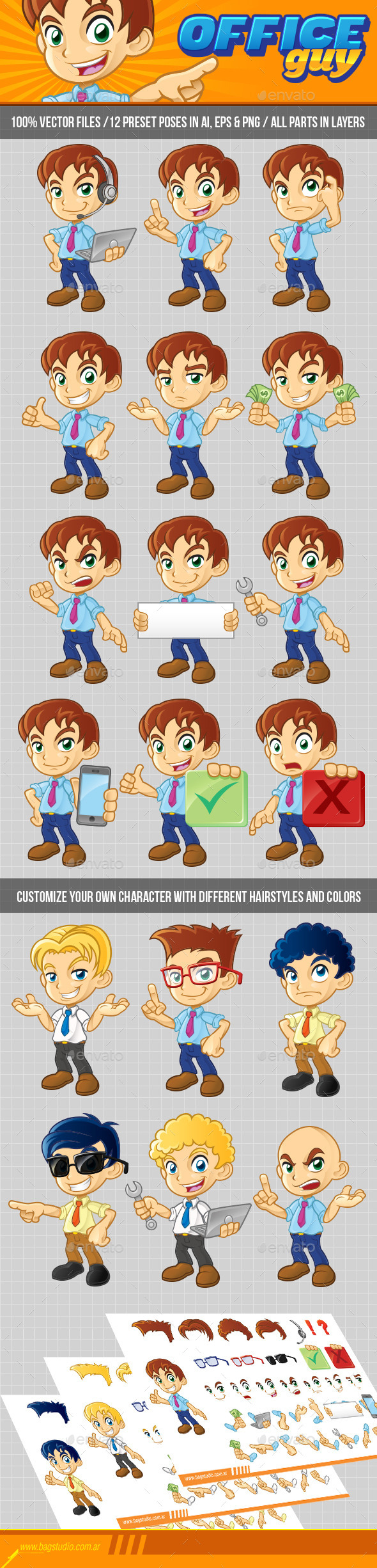 GraphicRiver Office Guy Character Pack 9720235