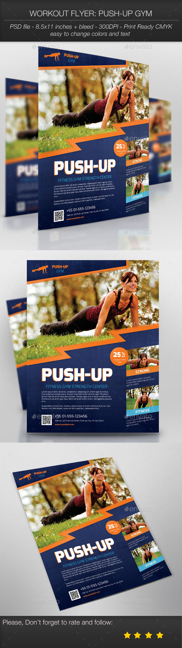 GraphicRiver Workout Flyer Push-Up Gym 9767386
