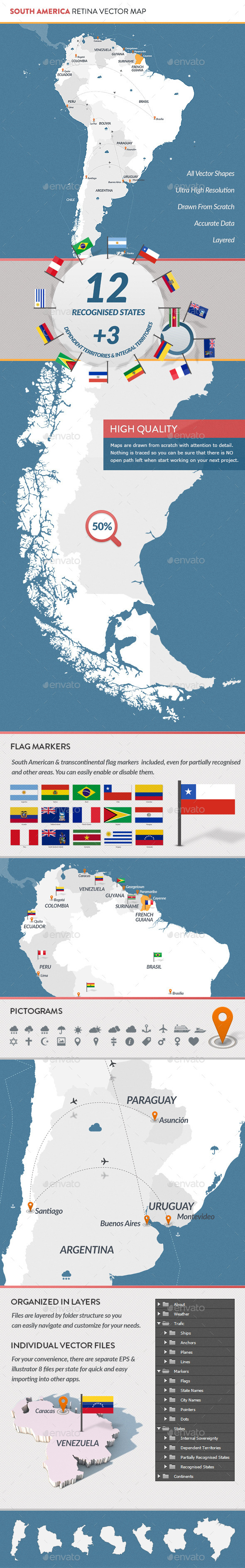 GraphicRiver South America Retina Vector Map 9767482