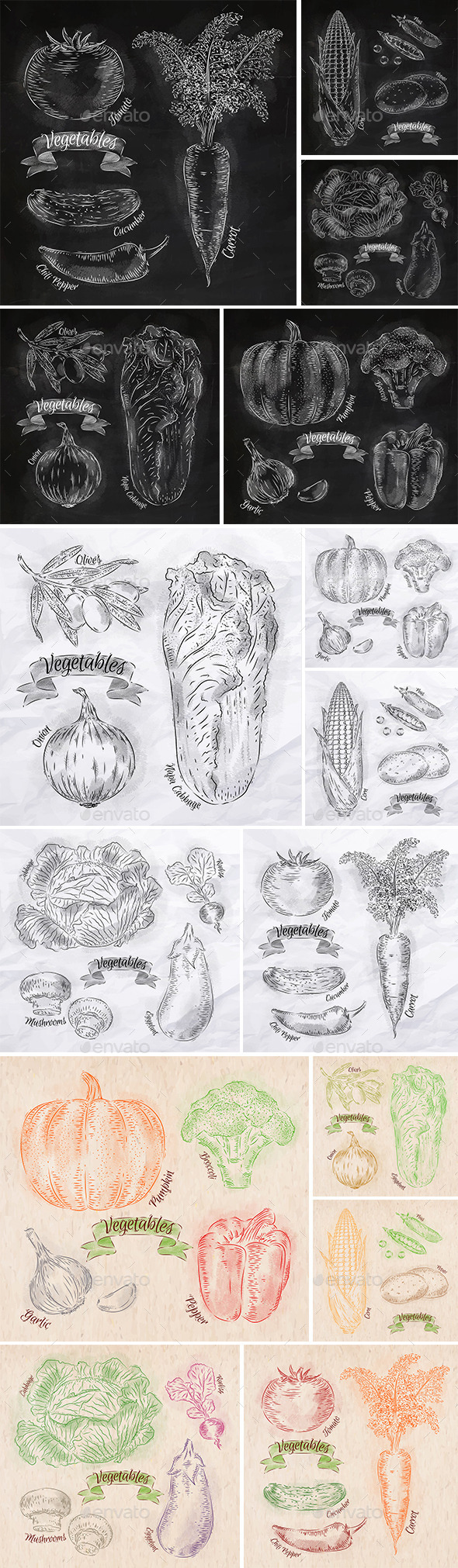 GraphicRiver Vegetables Drawn in Chalk 9767527