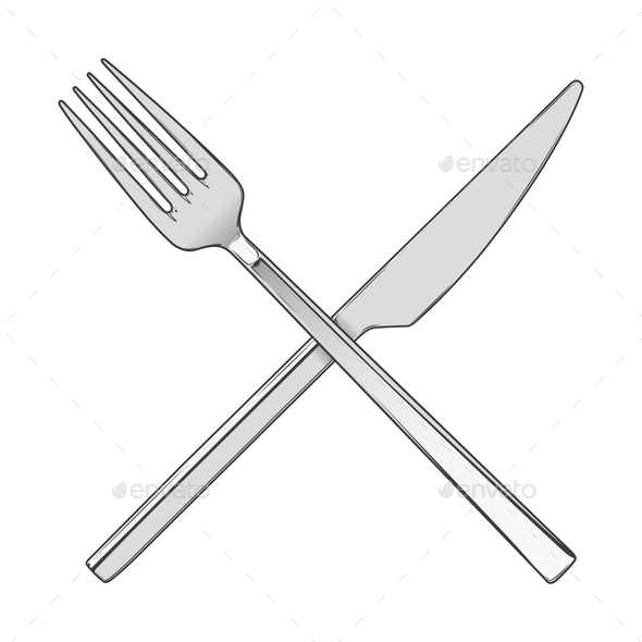 GraphicRiver Crossed Fork and Knife 9767573