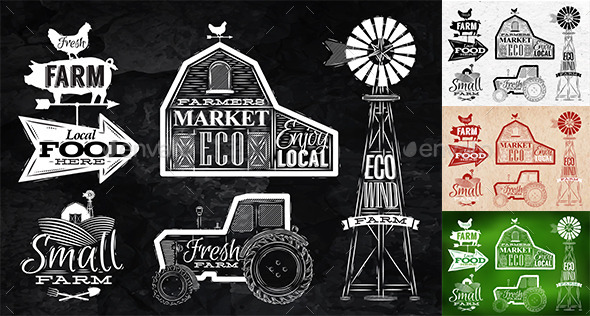 GraphicRiver Farm Characters in Vintage Style 9767588