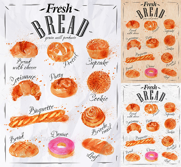 GraphicRiver Bakery Products Painted Watercolor Poster 9767601
