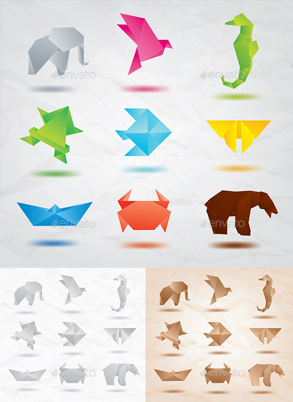 GraphicRiver Set of Origami Animals 9767606