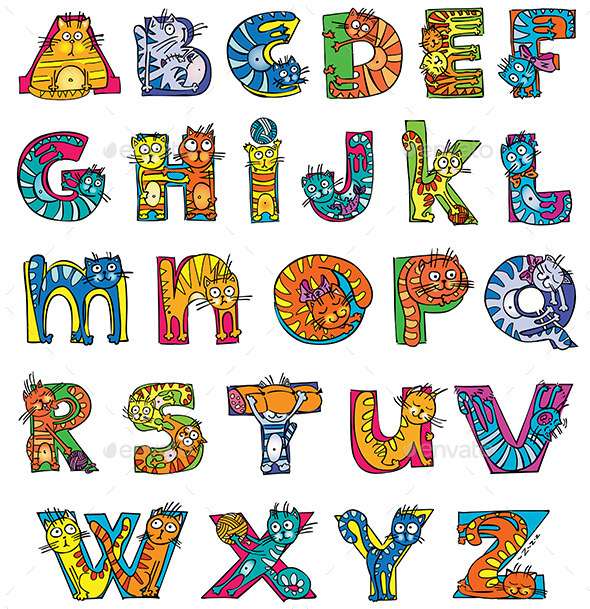 GraphicRiver Cat Alphabet 9768196