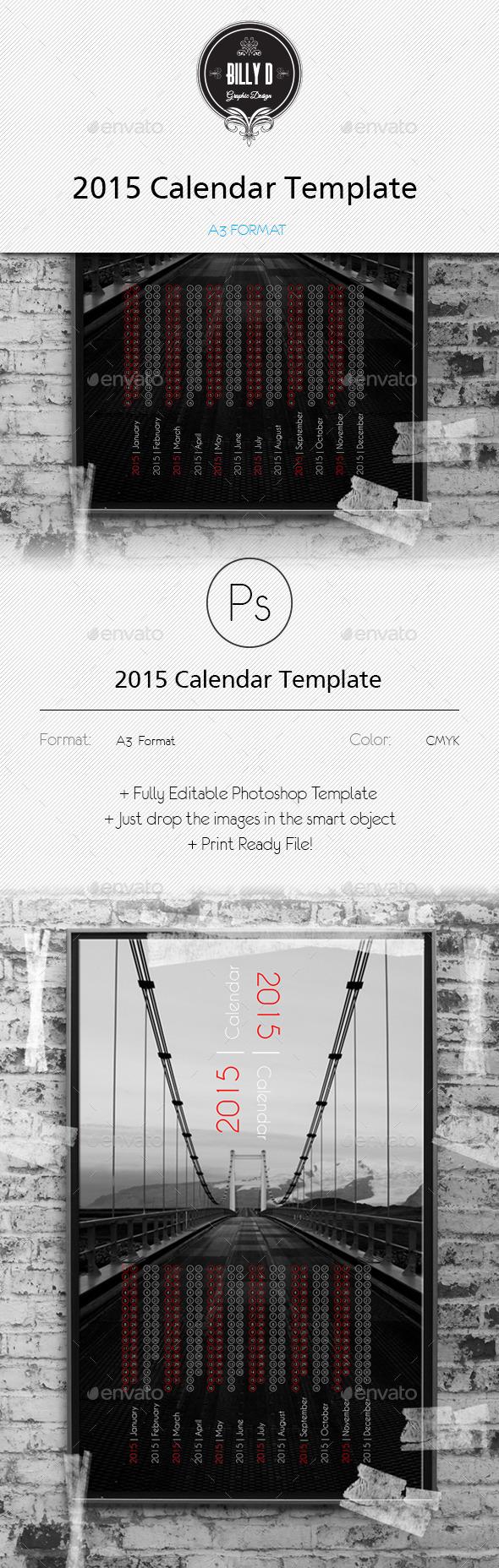 GraphicRiver 2015 Calendar Template A3 Format 9768364