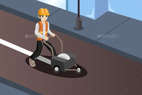 GraphicRiver Road Worker Painting the Road Lines 9769796
