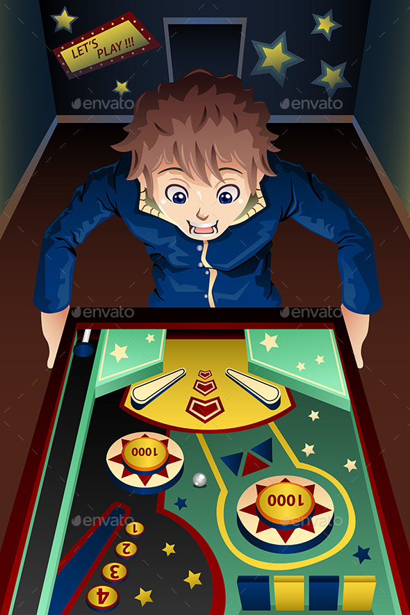GraphicRiver Man Playing Pinball Machine 9769819