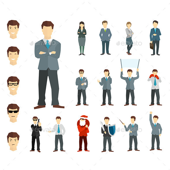 GraphicRiver Many Working People in Various Poses 9769821