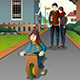 Parents Watching Their Child Riding a Bike - GraphicRiver Item for Sale