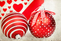 Vintage decoration with red Christmas balls - PhotoDune Item for Sale