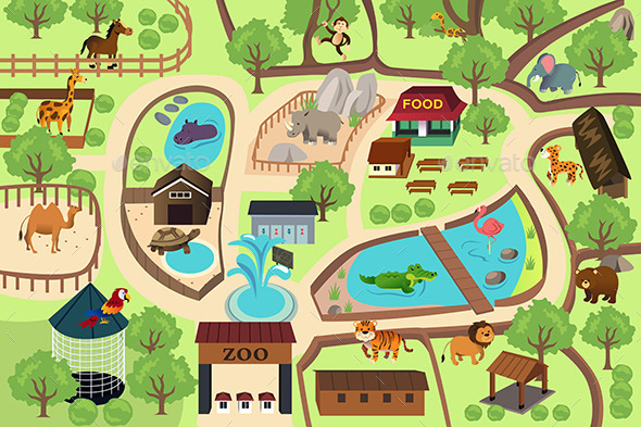 GraphicRiver Map of a Zoo Park 9770241