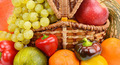 vegetables and fruits in wicker basket - PhotoDune Item for Sale