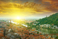 city in a mountain valley and sunrise - PhotoDune Item for Sale