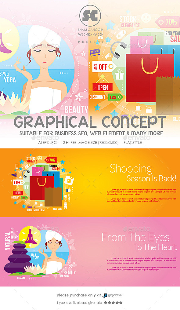 GraphicRiver Flat Concept For Shopping & Spa 9770683