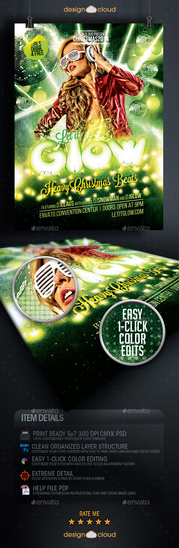 GraphicRiver Let it Glow Christmas Event Flyer Template 9707181
