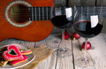 christmas gingerbread guitar and Wine romantic new year background - PhotoDune Item for Sale