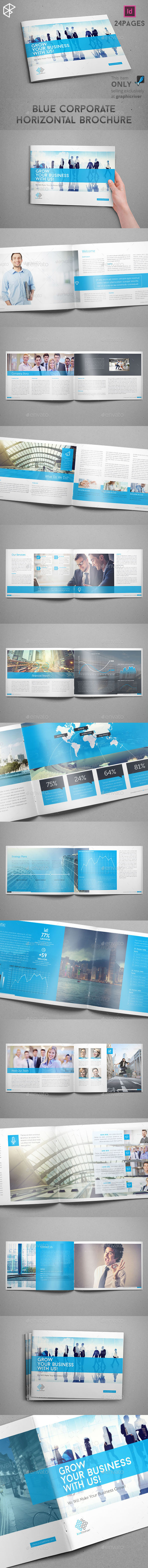 GraphicRiver Blue Corporate Horizontal Brochure 9771936