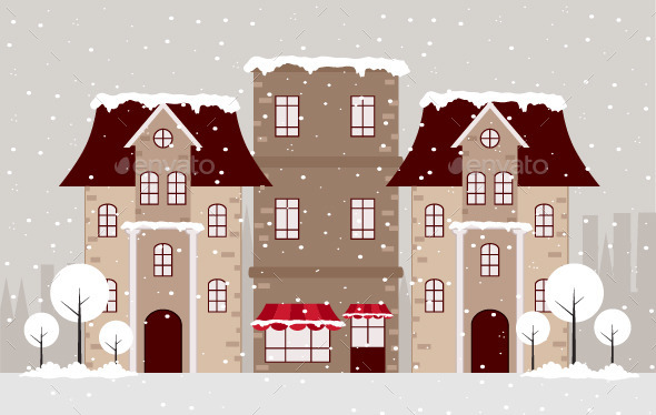 GraphicRiver Town in Winter 9772375