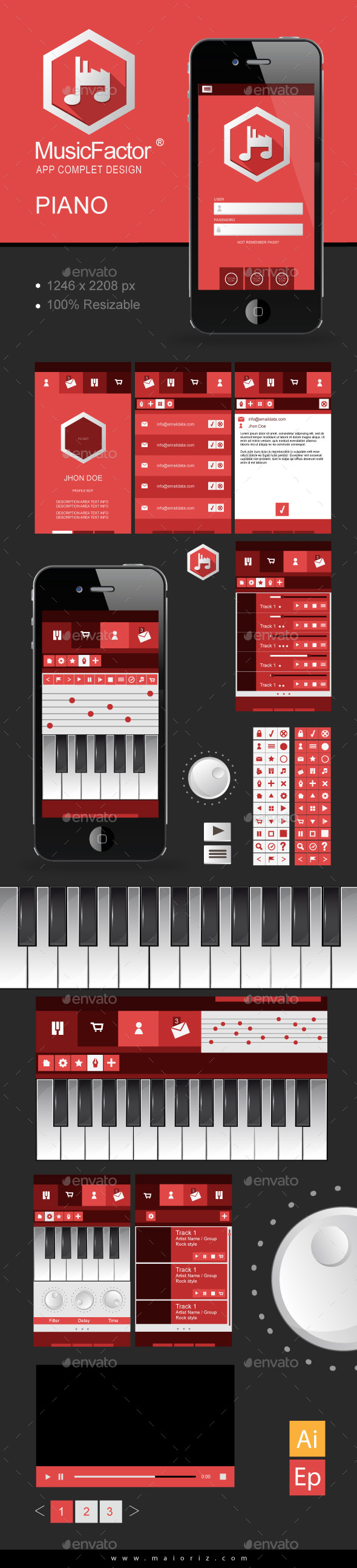 GraphicRiver Music App Vector Ui 9642127