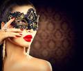 Beauty model woman wearing masquerade carnival mask - PhotoDune Item for Sale