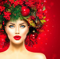 Christmas fashion model woman. Xmas hairstyle and makeup - PhotoDune Item for Sale