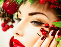 Christmas holiday makeup. Beauty woman face closeup - PhotoDune Item for Sale