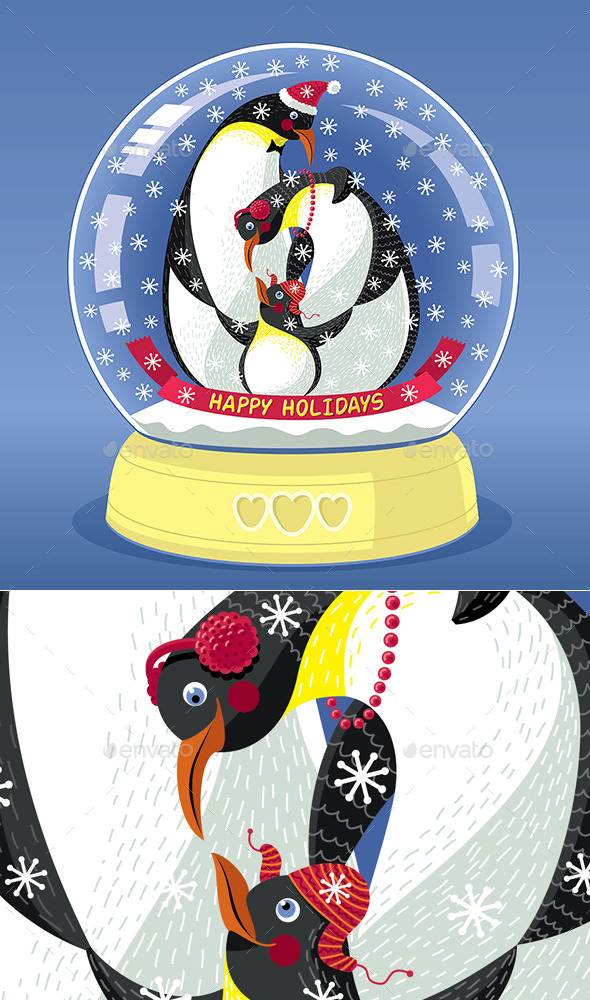 Snowing Globe with Family of Three Penguins