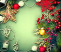 Christmas vintage green background with retro styled baubles - PhotoDune Item for Sale