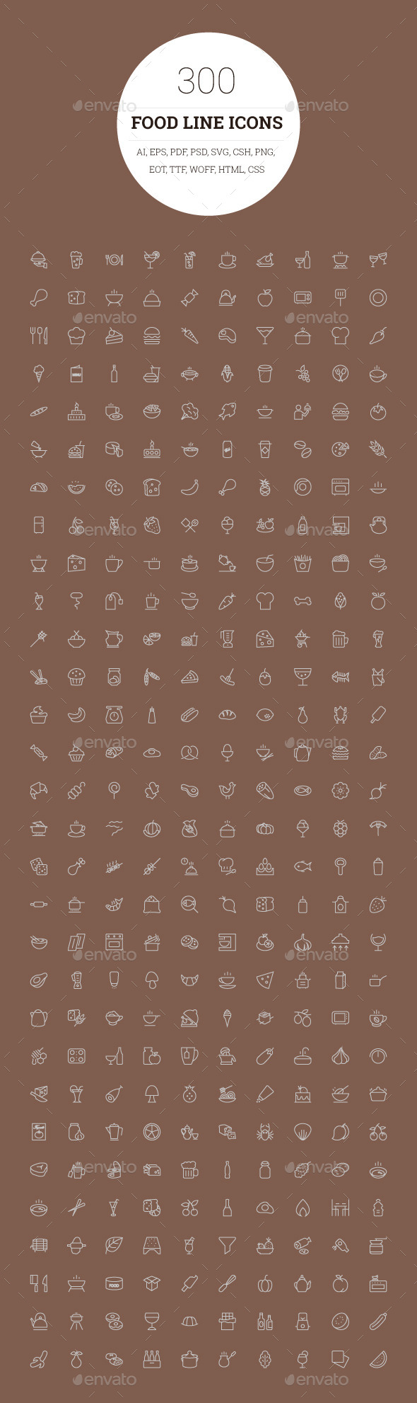 GraphicRiver 300 Food Line Icons 9773707