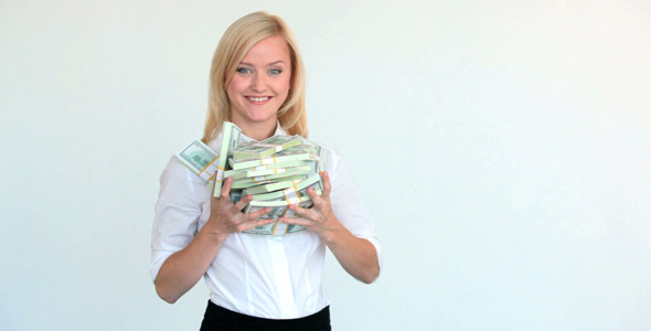 Pretty Blonde With Dollar Bills