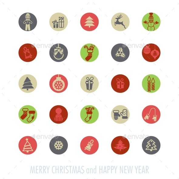 GraphicRiver Christmas Icons Set 9774115