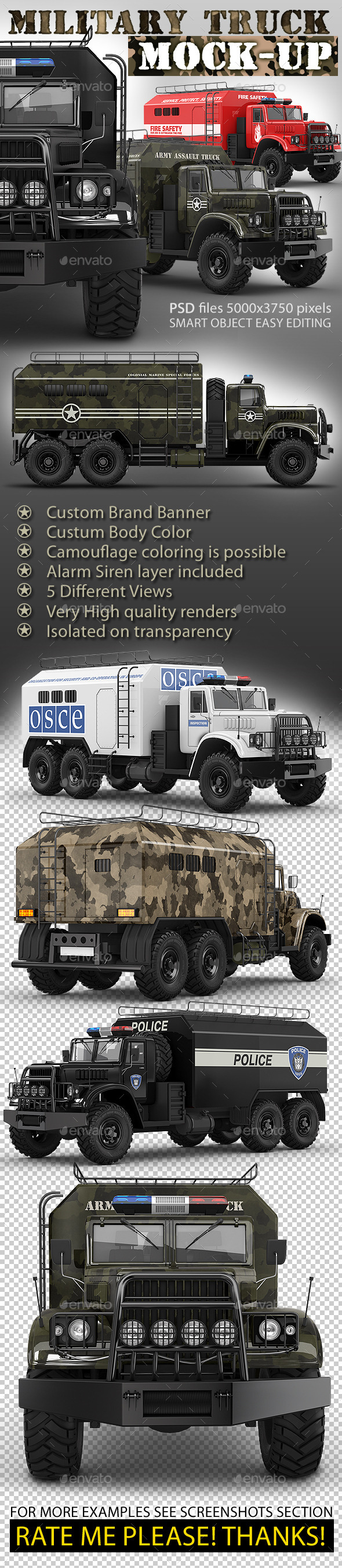 GraphicRiver Special military truck mock-up Assault or support 9774148