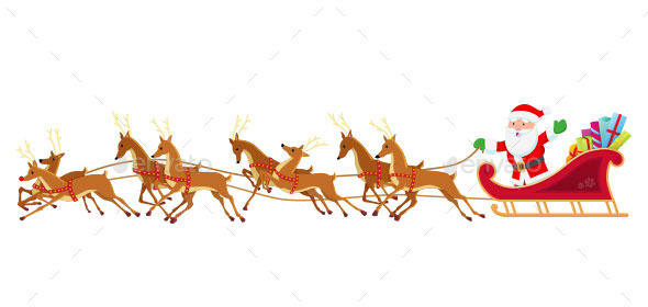 GraphicRiver Santa Sleigh and Reindeer 9774186