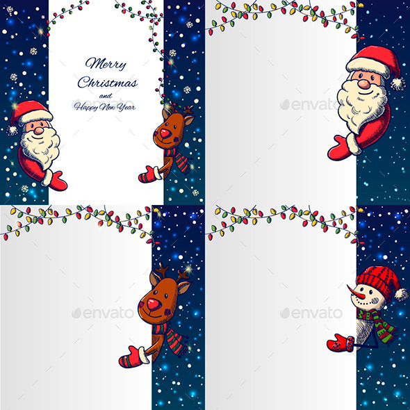 GraphicRiver Set of Hand Drawn Cristmas Banners 9774299